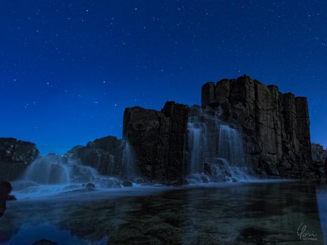 キアマ ボンボ 夜景 滝 Kiama Bombo cascade Night