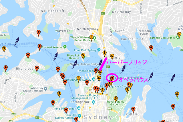シドニー花火打ち上げ場所