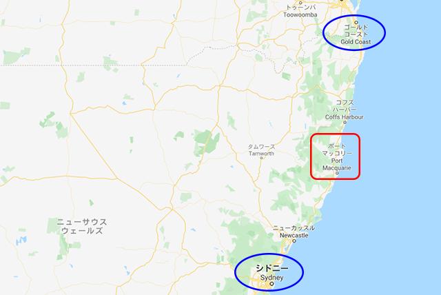 ポートマッコーリー地図