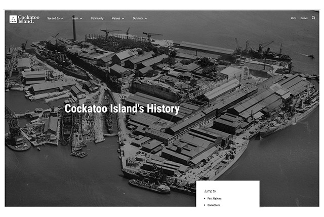 Cockatoo island official site
