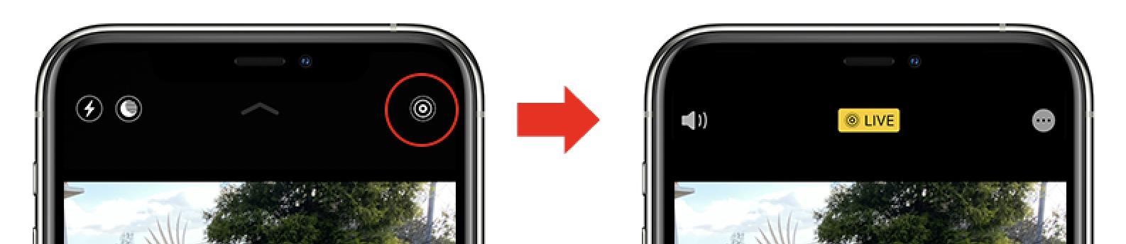 iPhone11 ライブフォトボタン