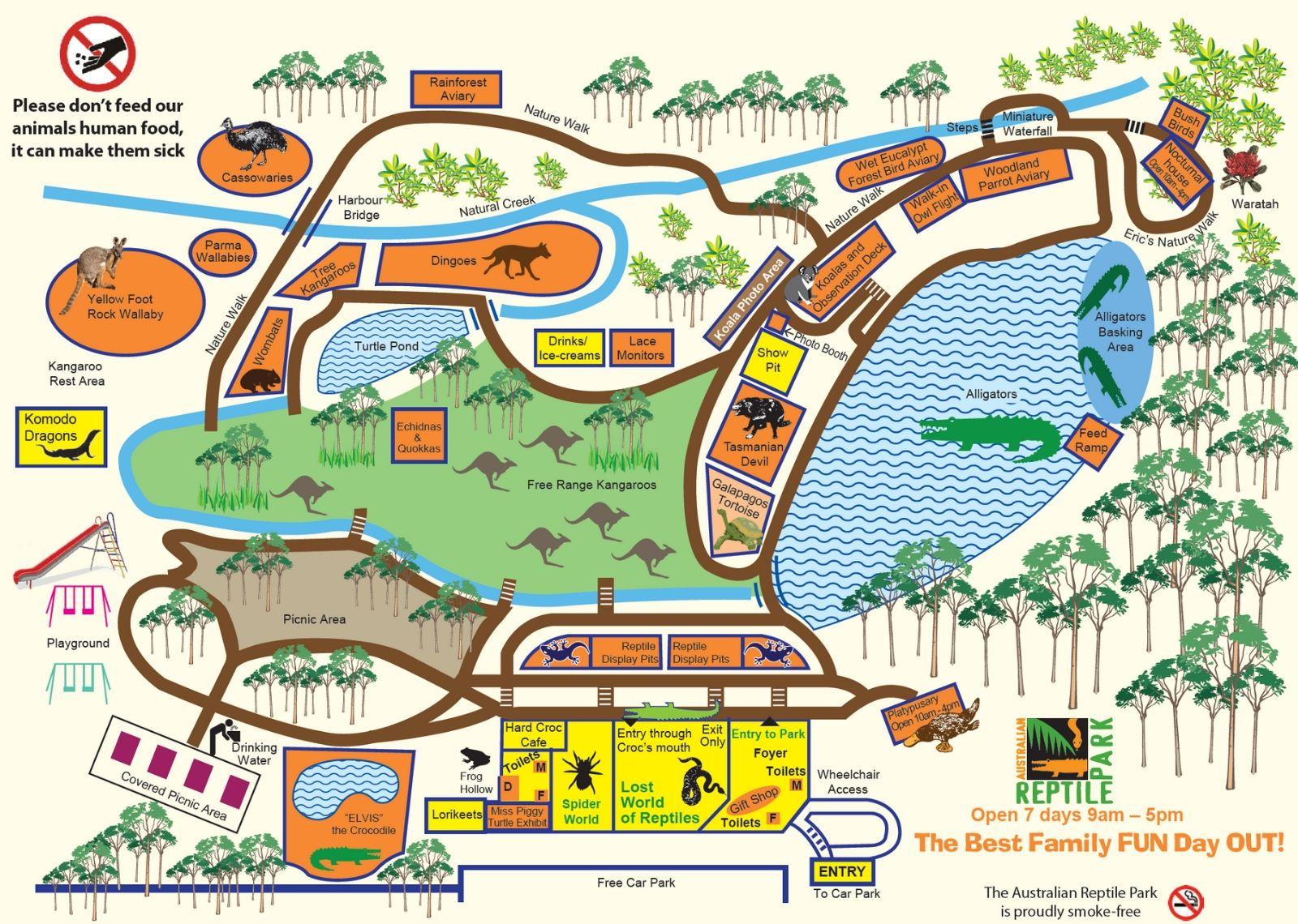 オーストラリアン レピタイルパーク 爬虫類公園 地図 2020